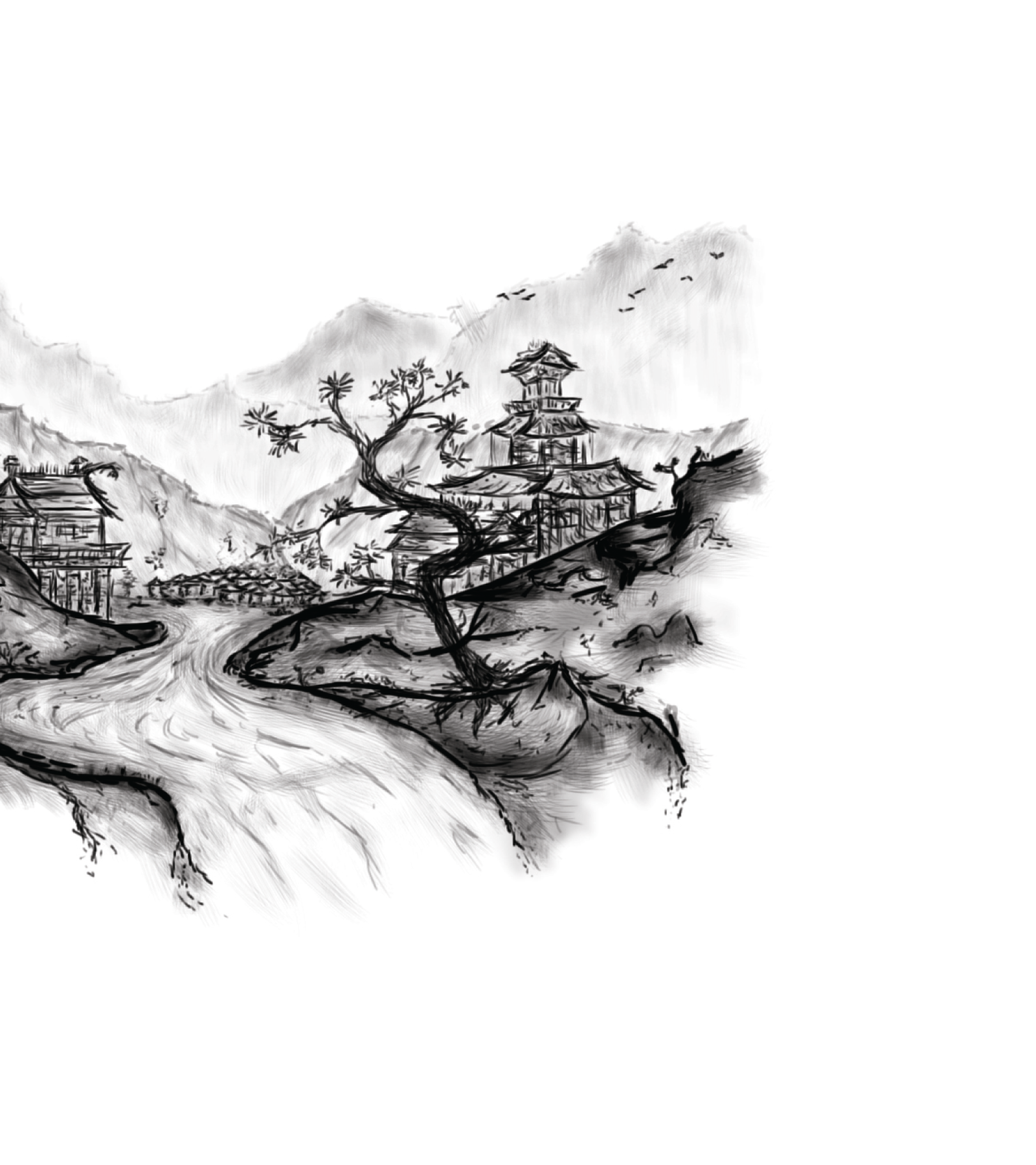 Image displaying Illustrative artwork of Japanese landscape for use on Singing Tree Gardens
