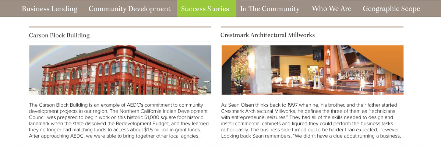Draft #3 of AEDC's website homepage which features the dynamic display